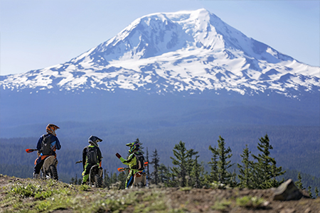 Off-road riders enjoying a view of Mt Adams