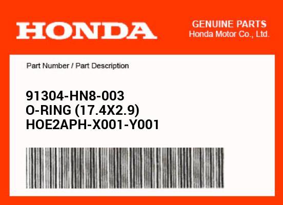 Honda OEM Parts O-RING (17.4X2.9) 91304-HN8-003 | eBay